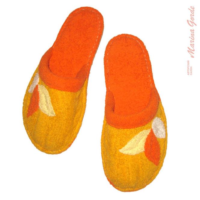 Тапочки для бани с декоративными листочками (желтый+оранжевый)