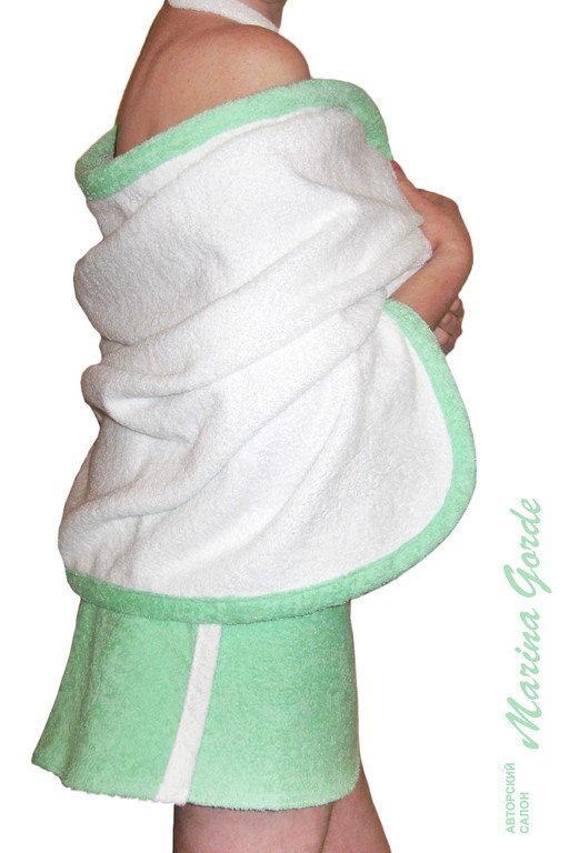 Полотенце-палантин (белый+зеленый)