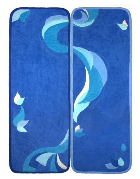 Коврик для шезлонга, бани, сауны, 60 х 180 см (синий, темно синий)
