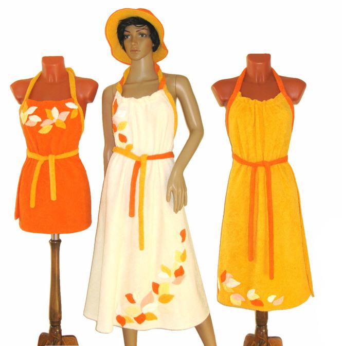Сарафан с декором (кремовый, оранжевый, желтый)