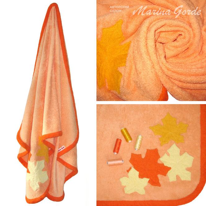 """Полотенце-палантин """"Кленовый листопад"""" (персиковый+оранжевый)"""