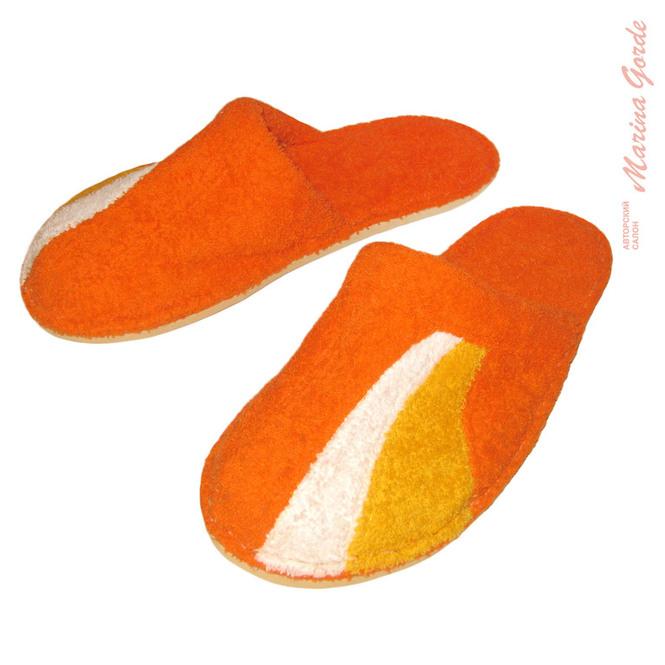 Тапочки для бани с декоративными вставками (оранжевый, желтый, белый)
