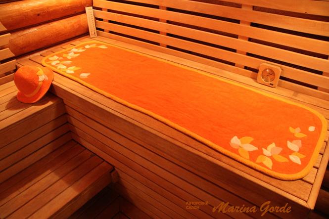 Коврик для бани, лежака, шезлонга, кресла (оранжевый+желтый)