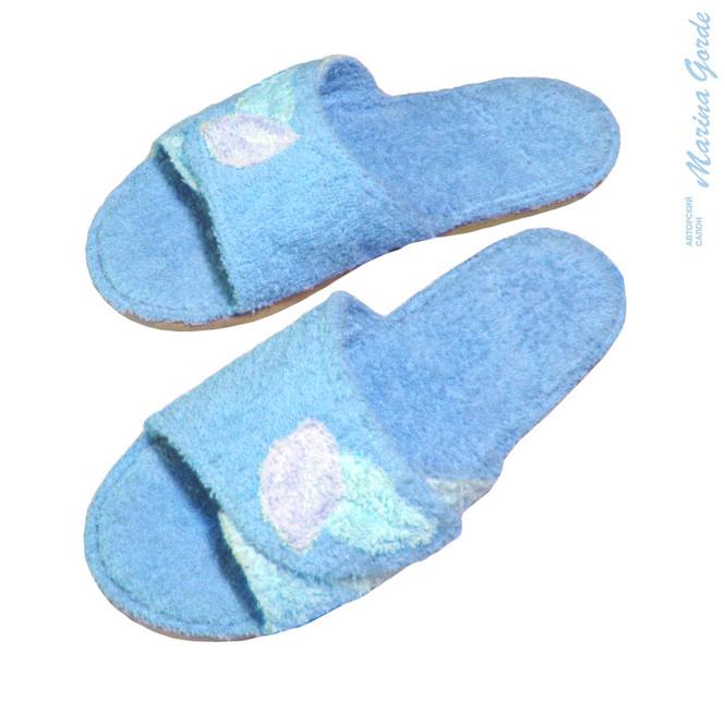 Тапочки для бани открытые с декоративными листочками (голубой+нежно голубой)