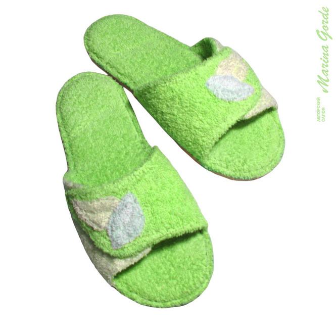 Тапочки для бани открытые с декоративными листочками (зеленый+нежно зеленый)