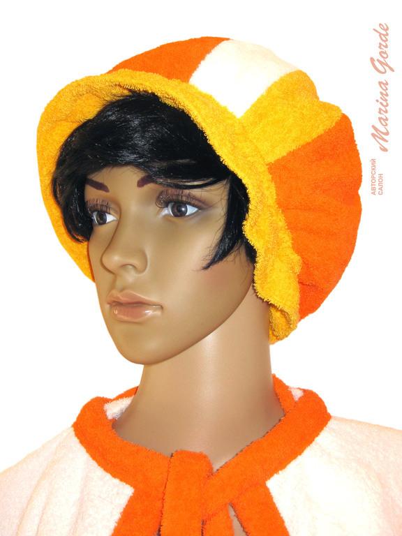 Шапка для бани и ухода за волосами (оранжевый, желтый, белый)