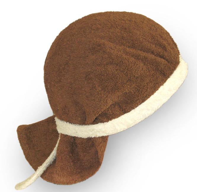 Шапка для бани - бандана (коричневый+кремовый)