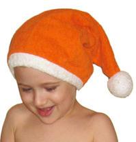 Шапочка - колпачок (оранжевый+белый)