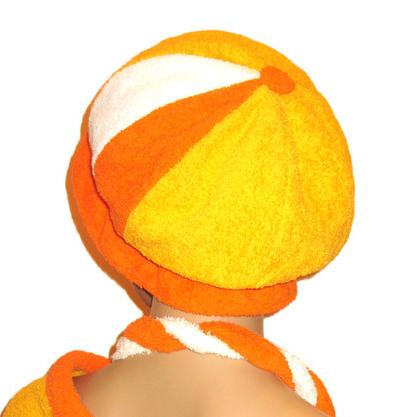 Шапка для бани и ухода за волосами (желтый, оранжевый, белый)