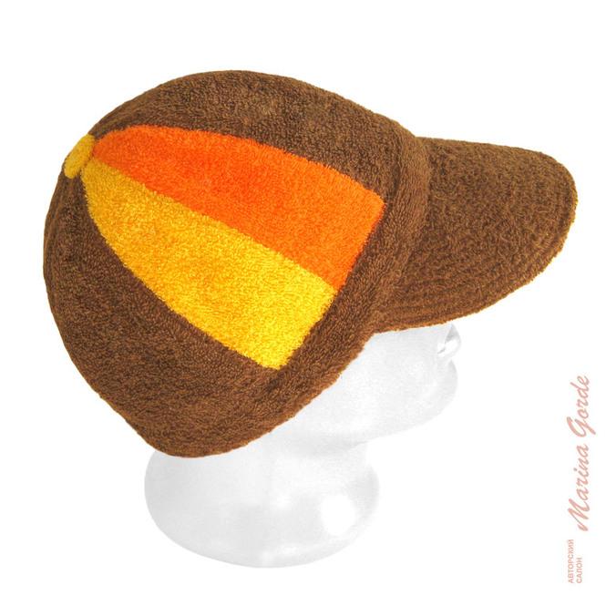 Шапка для бани - бейсболка (коричневый, оранжевый, желтый)