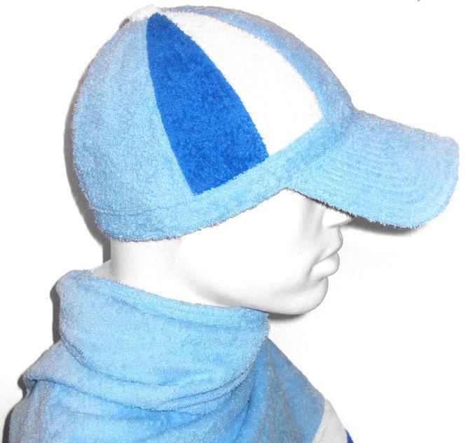 Шапка для бани - бейсболка (голубой, синий, белый)