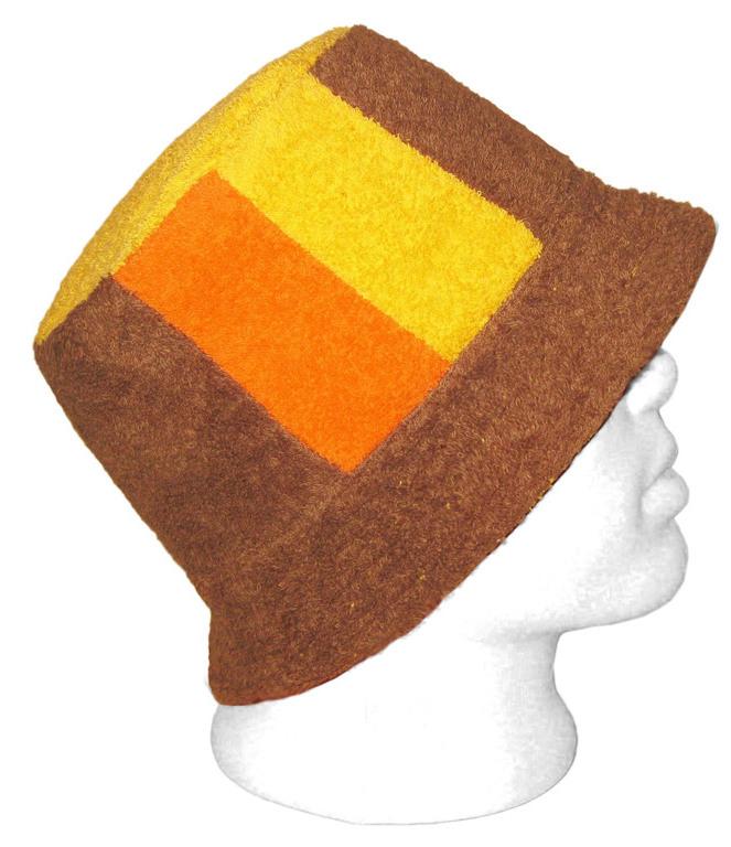 Шапка для бани - шляпа (коричневый, оранжевый, желтый)