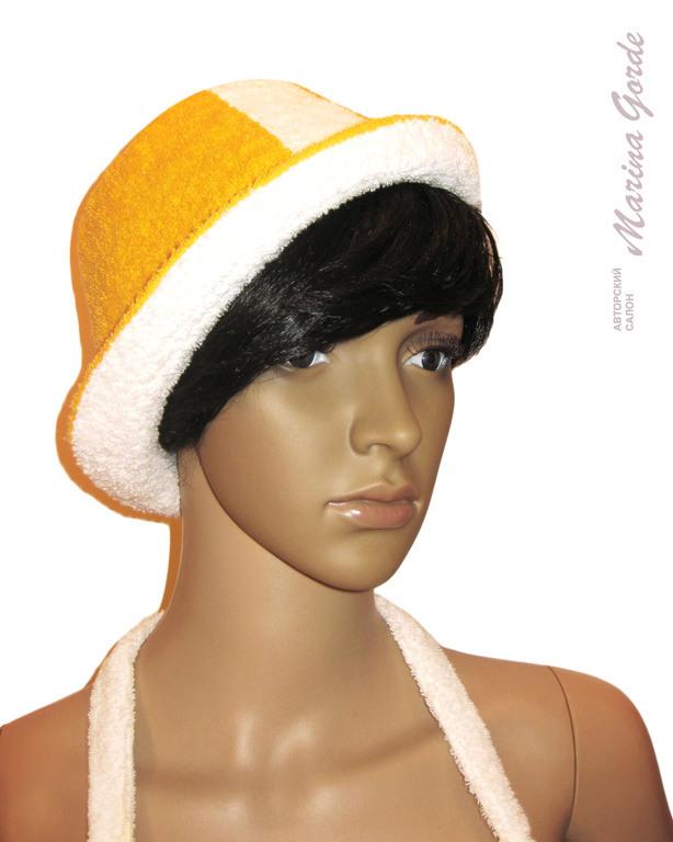 Шапка для бани - шляпа (желтый+белый)