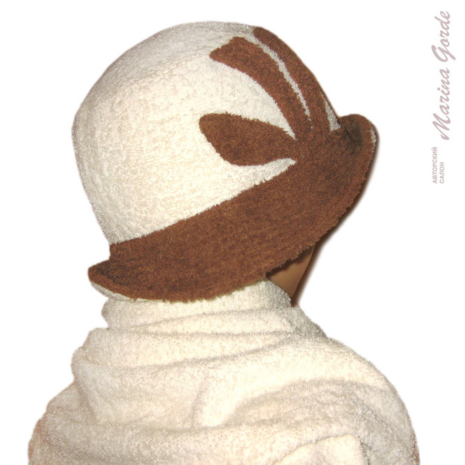 Шапка для бани - шляпа (кремовый+коричневый)