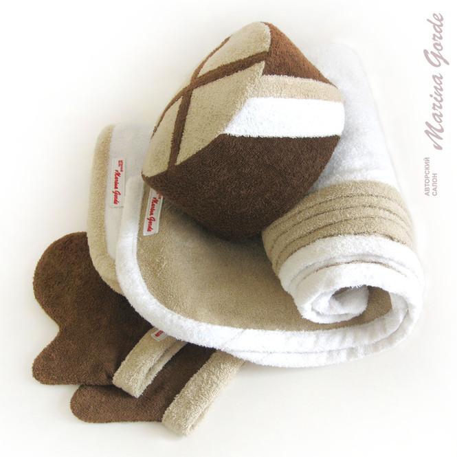 Шапка для бани - кубанка (коричневый, бежевый, белый)