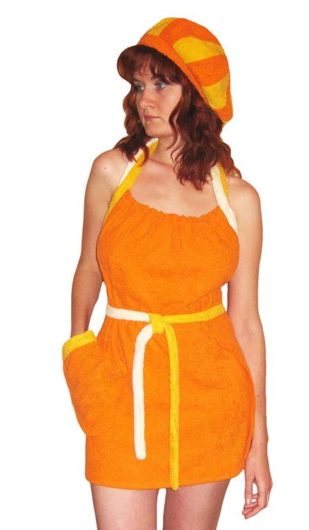 Сарафан для бани, пляжа, бассейна (оранжевый, желтый, белый)