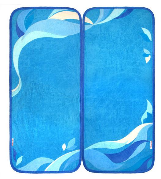 Коврик для шезлонга, бани, сауны 75 х 180 см (бирюзовый+синий)